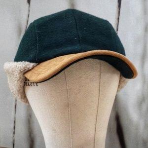 Vintage Wool & Leather Flap Cap - very warm! - M